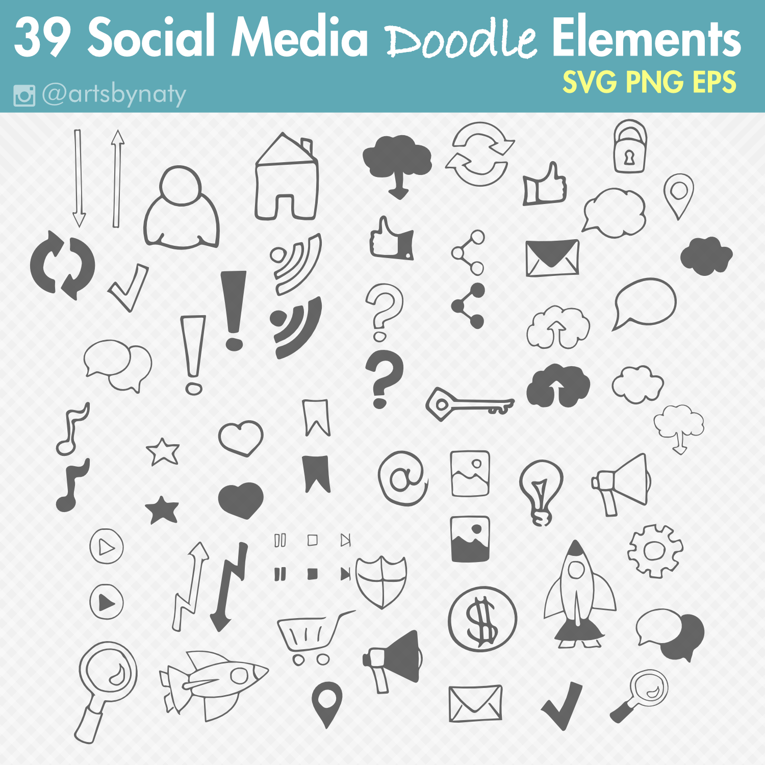 Social Media Doodle With 39 Svg Elements Arts By Naty