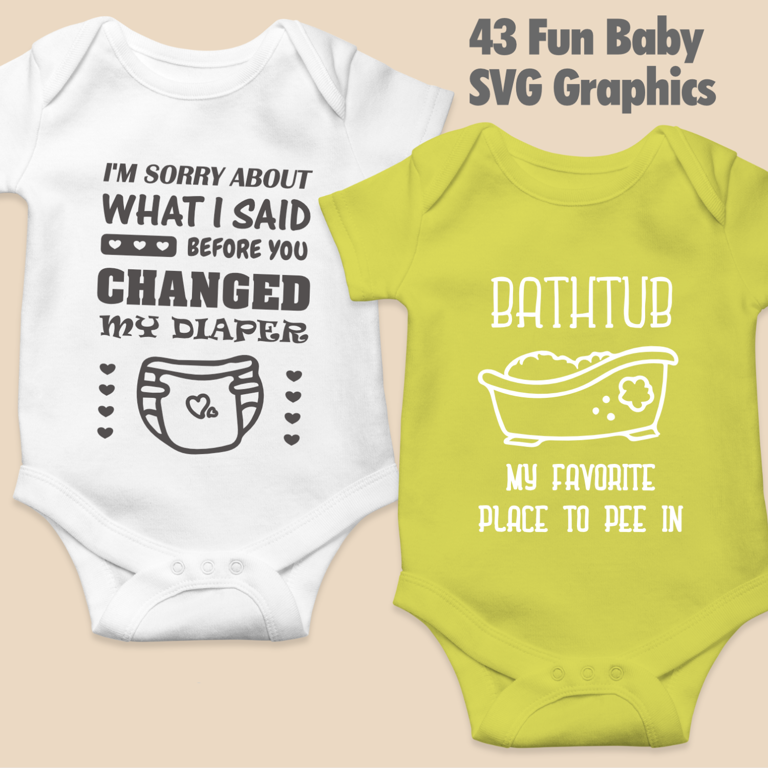 Fun Baby Svg Bundle With 43 Graphics Illustrations For Baby Onesies Arts By Naty