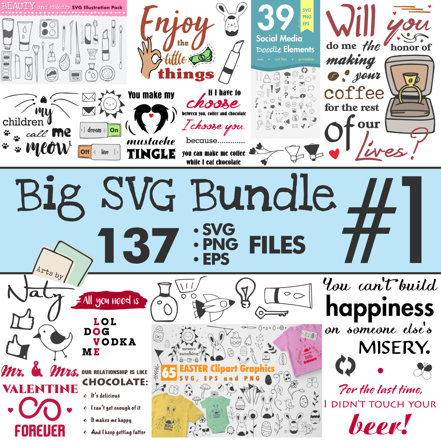 Big Fun SVG bundle of Quotes and Illustrations